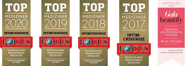 FOCUS Auszeichnung 2020 Top Mediziner 2020 Intimchirurgie Dr. med. Michaela Montanari